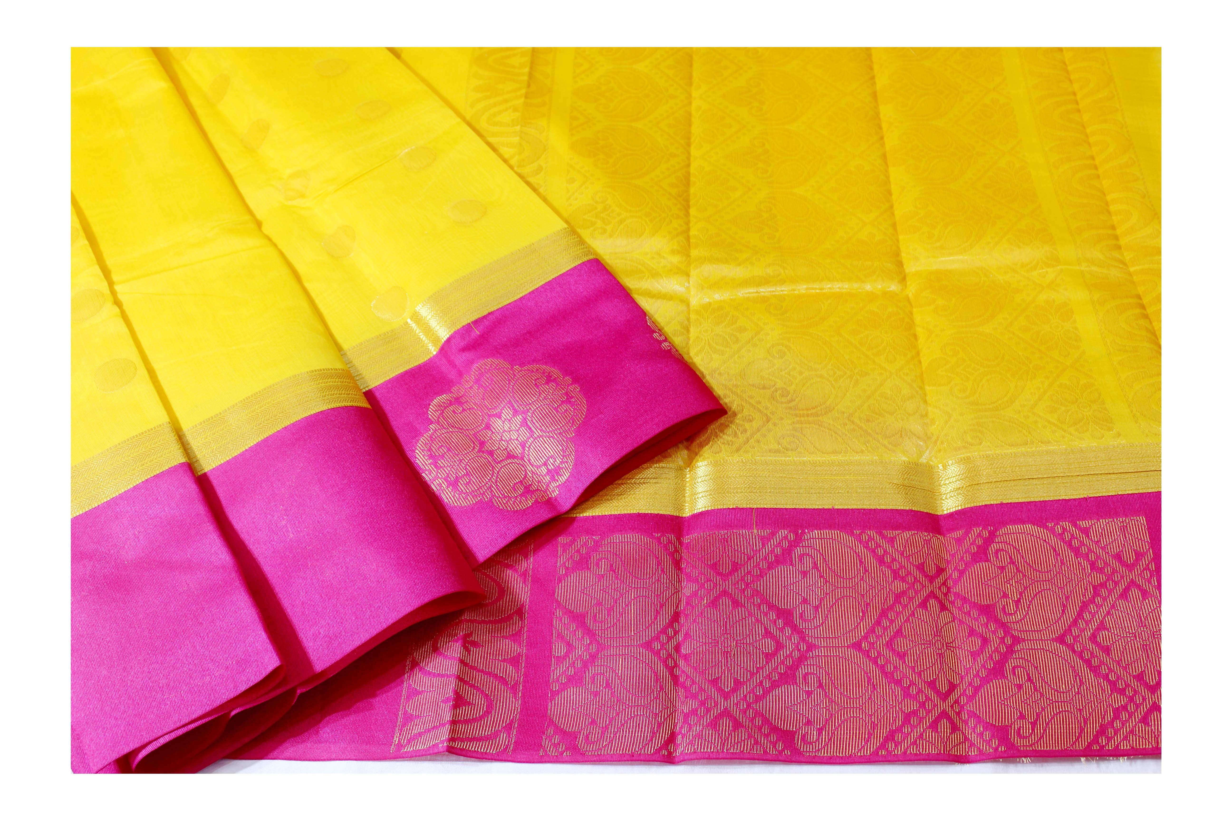 Mixture of yellow and pink Kanchi cotton saree.