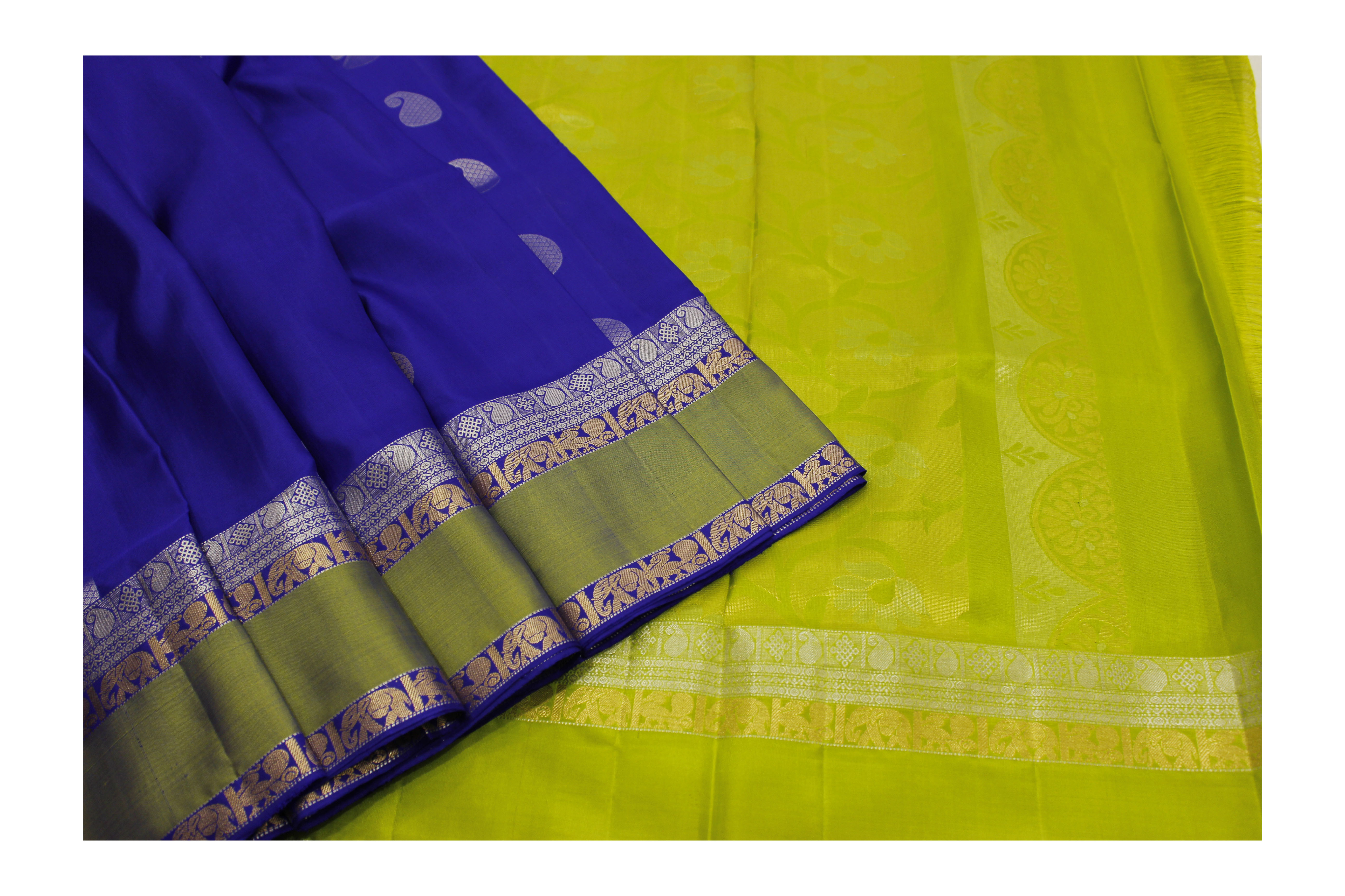 Pure blue and green silk with mixed jari