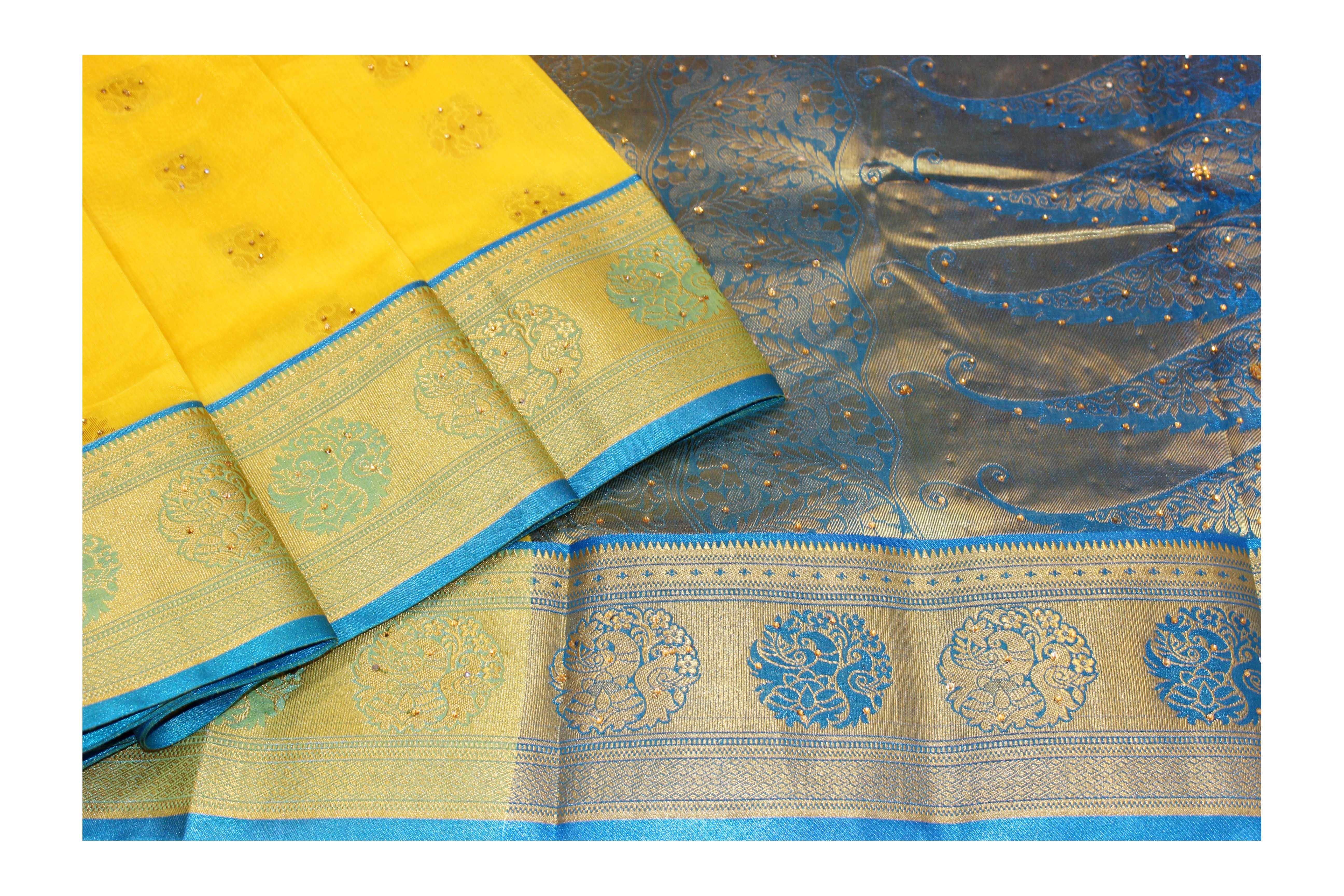Mixture of yellow and blue saree with golden jari.