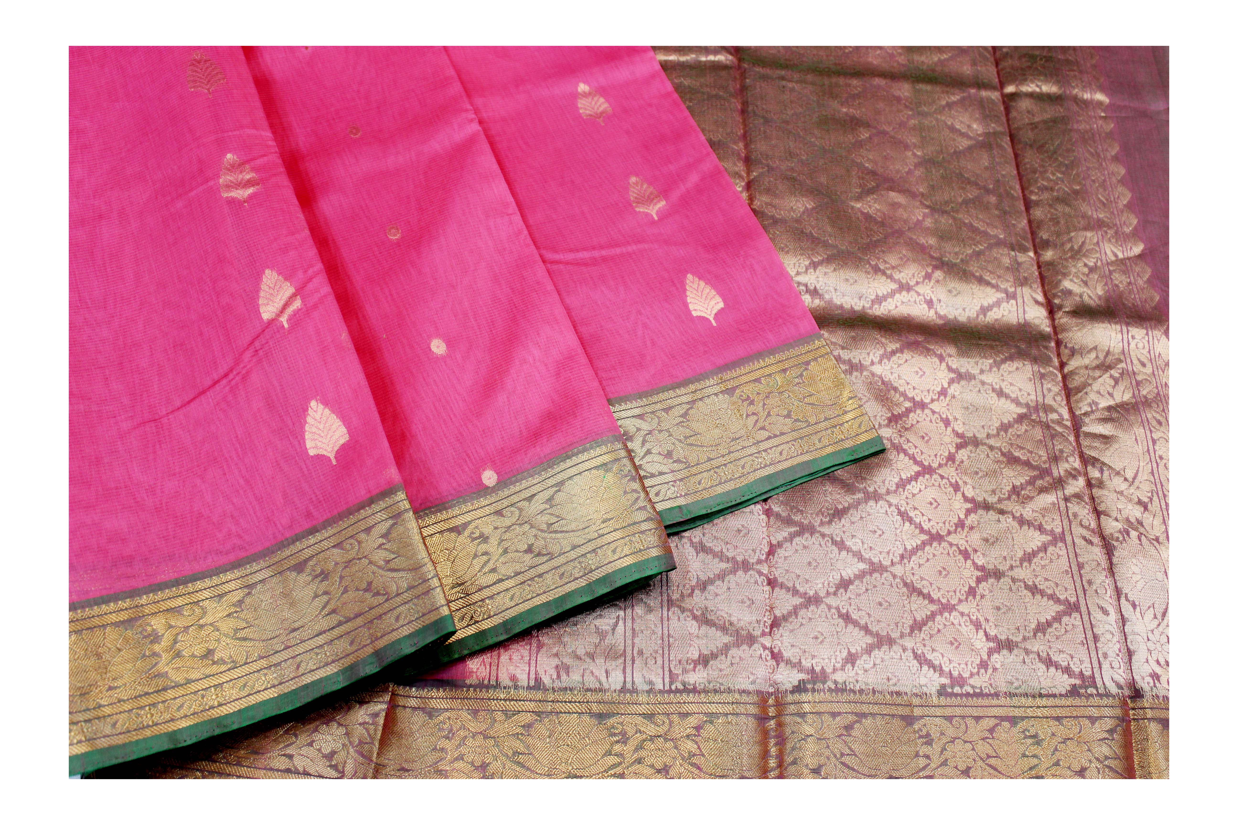 Cotton pink and maroon saree with golden Jari