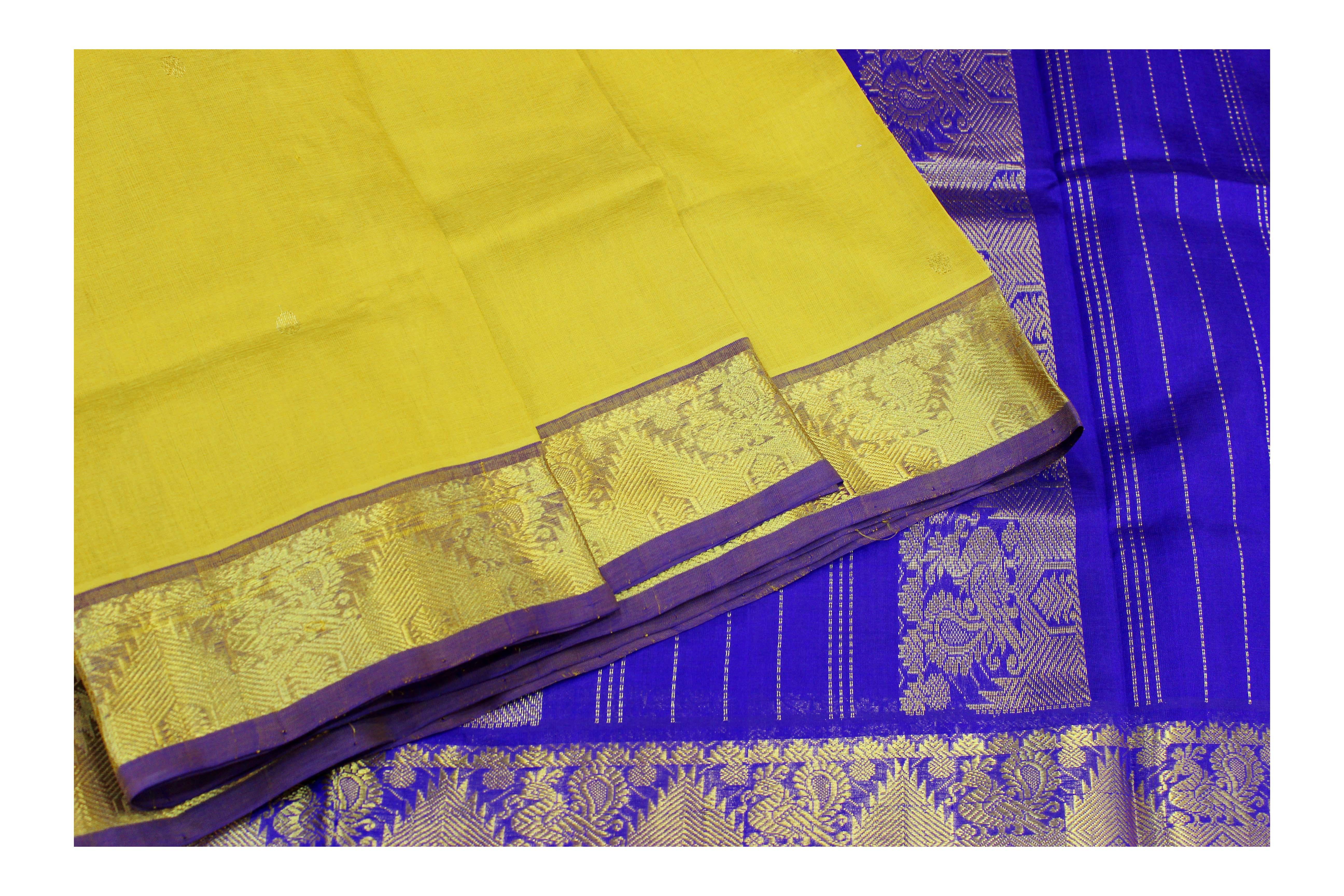 yellow and blue cotton fabric saree with golden jari