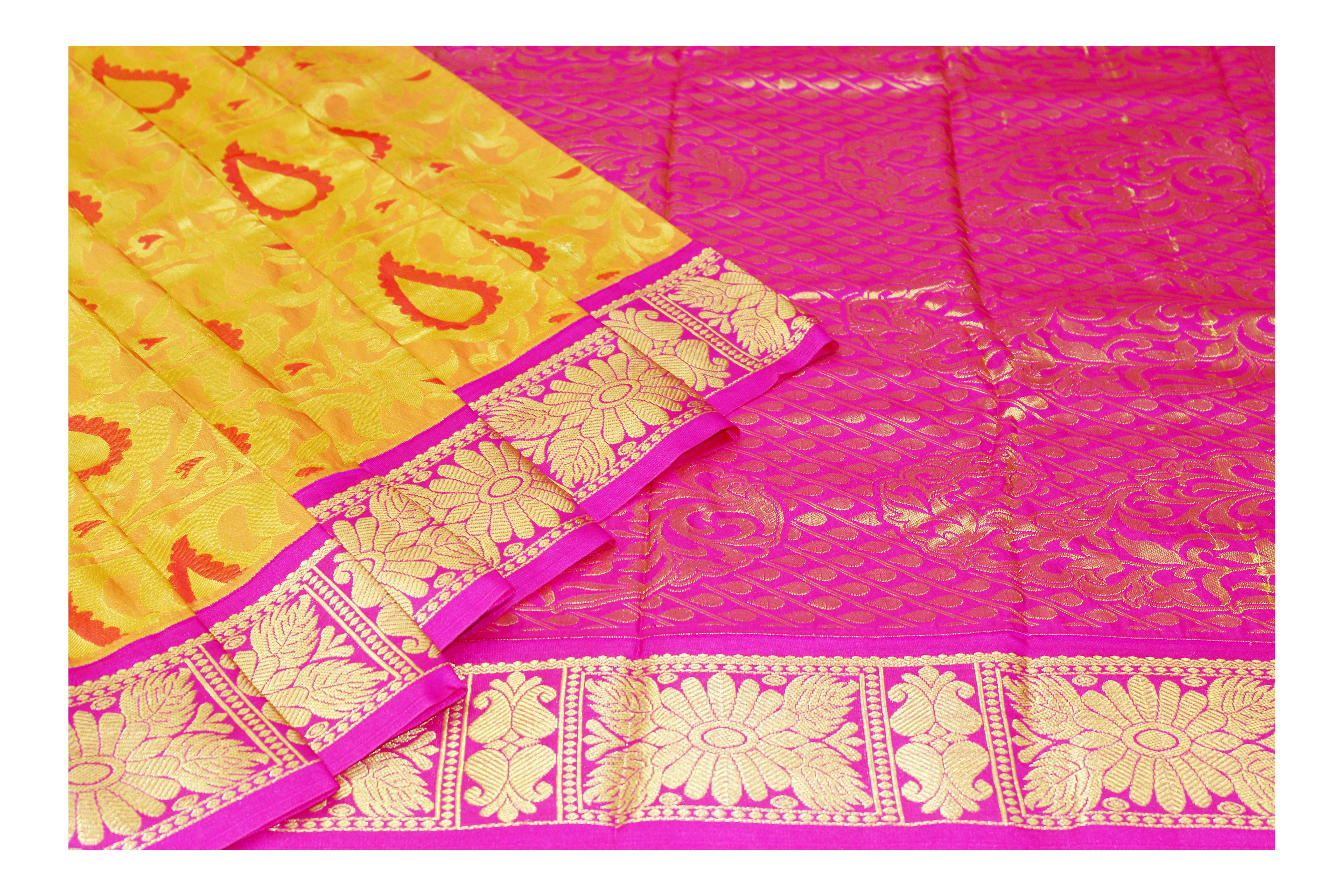 mixture of yellow and pink raw silk with golden jari