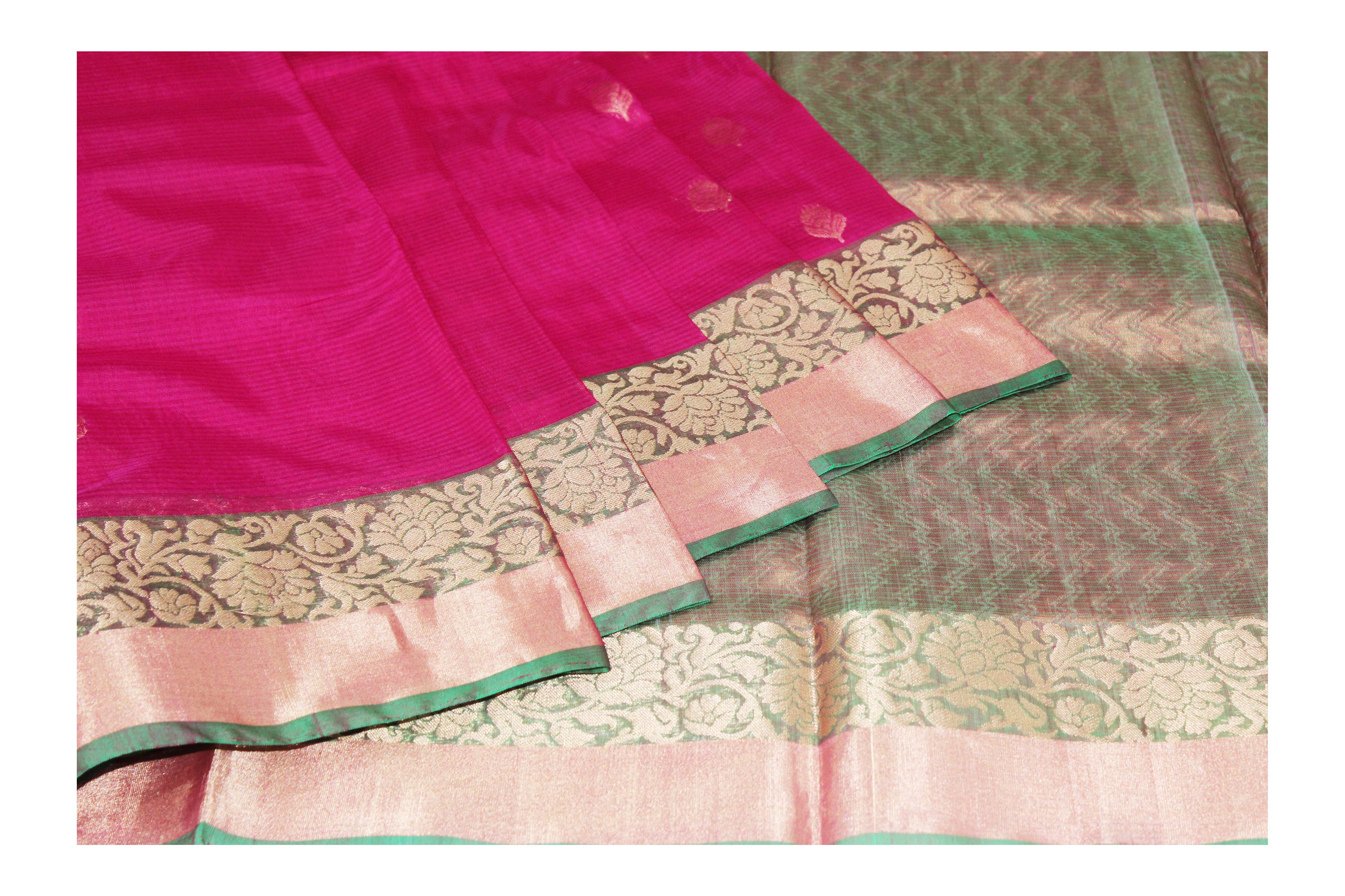 pink and green cotton blend with golden jari