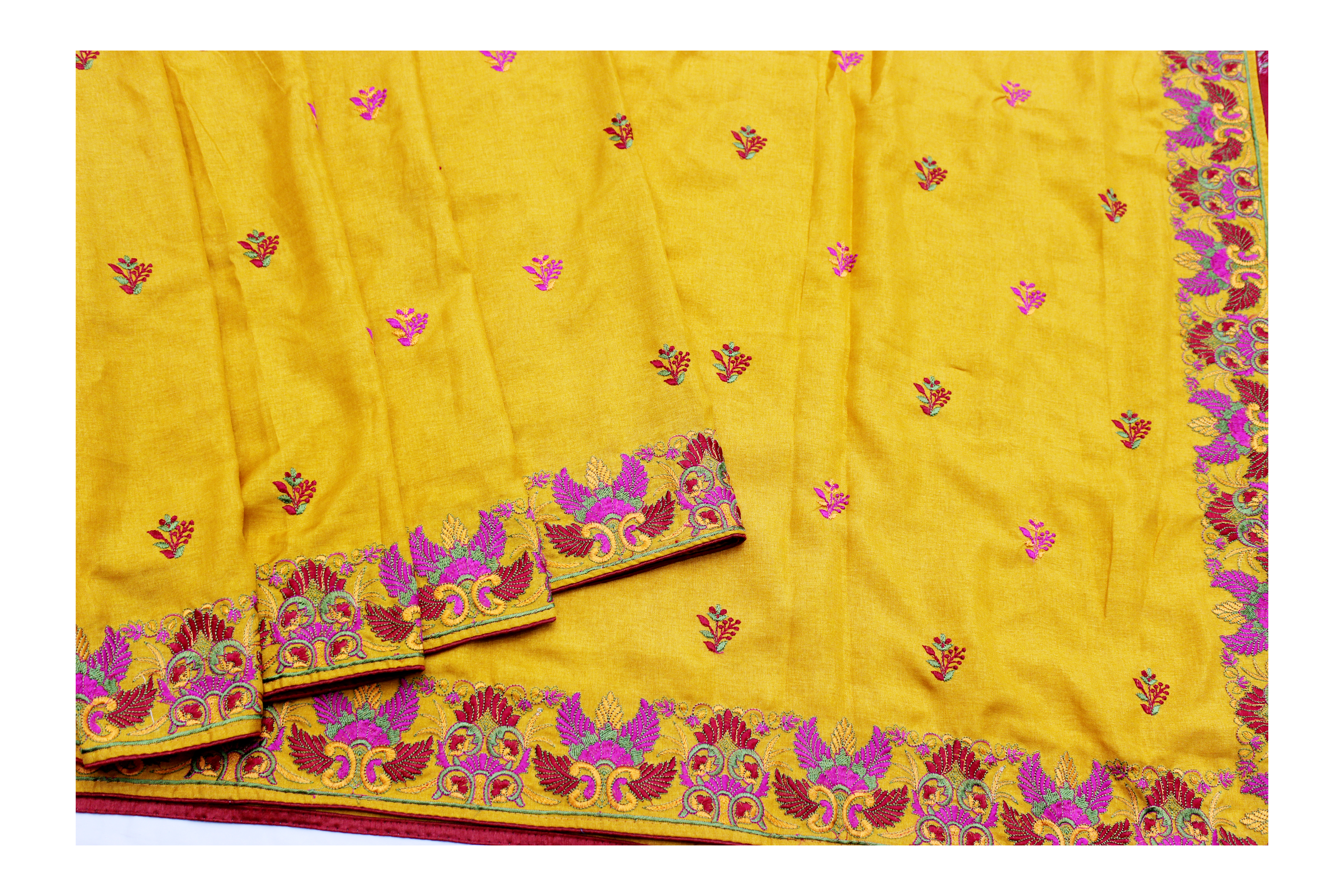 designer yellow and pink  silk with embroidery work