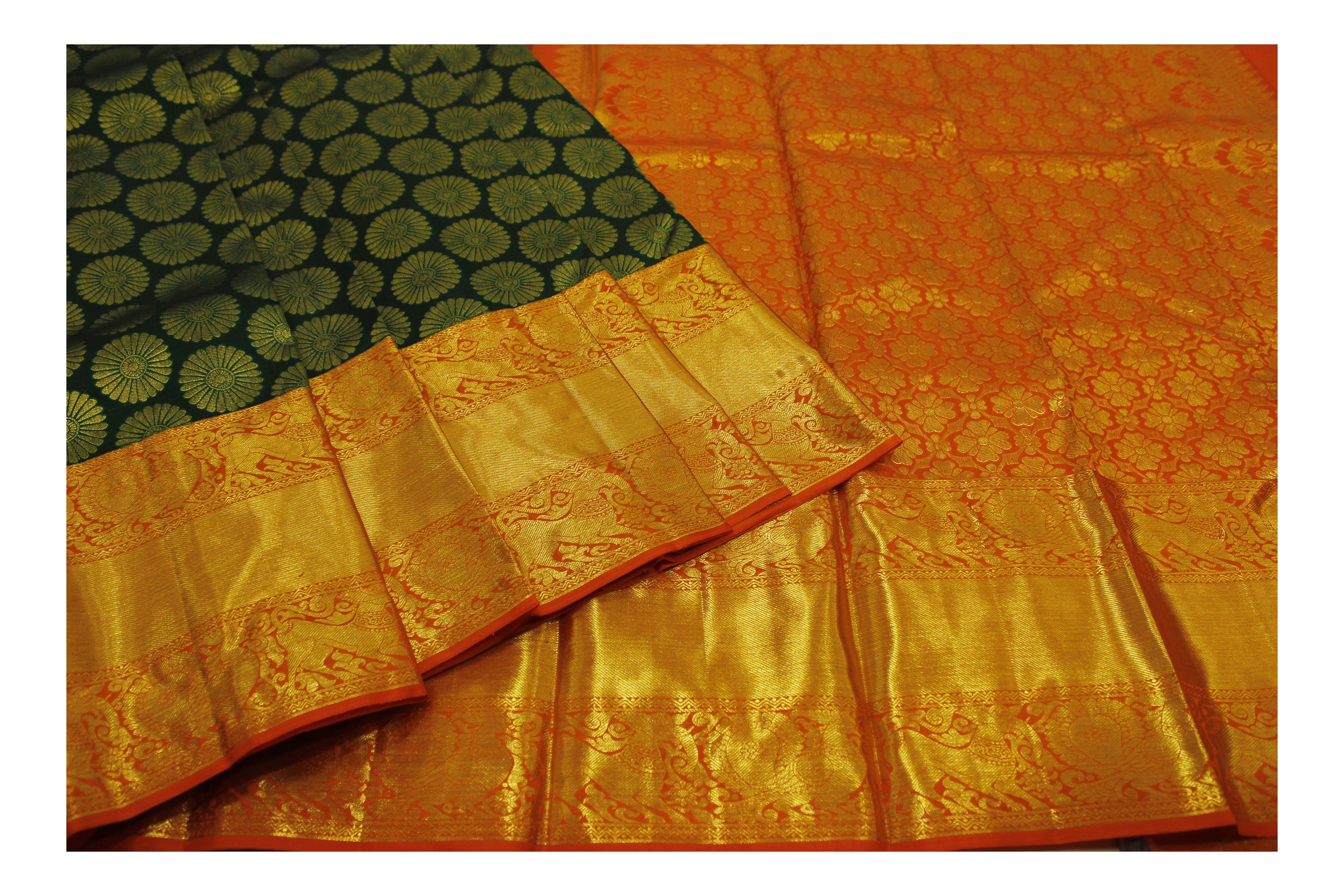 Pure green and orange silk with golden jari