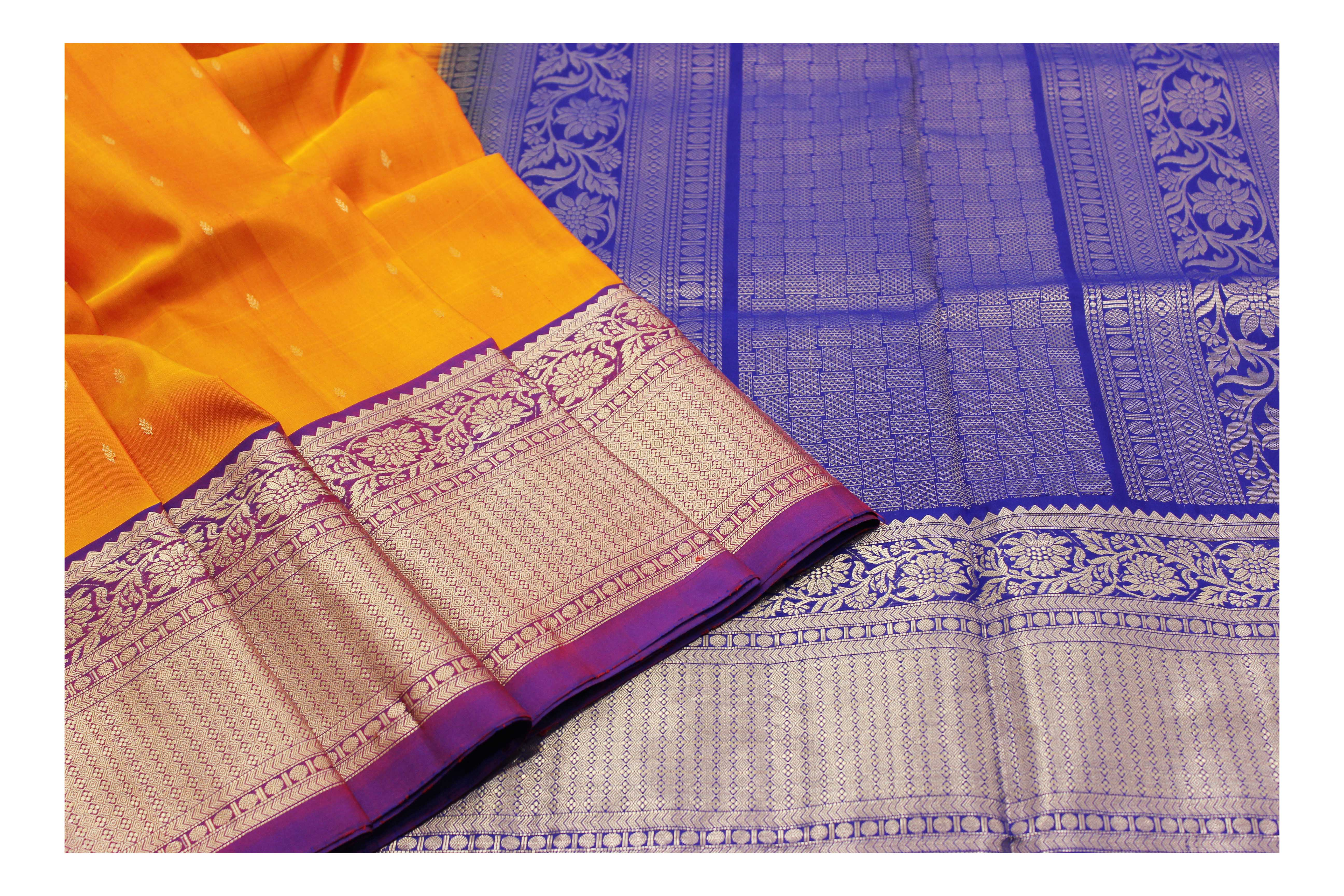 Pure orange and blue silk with silver jari