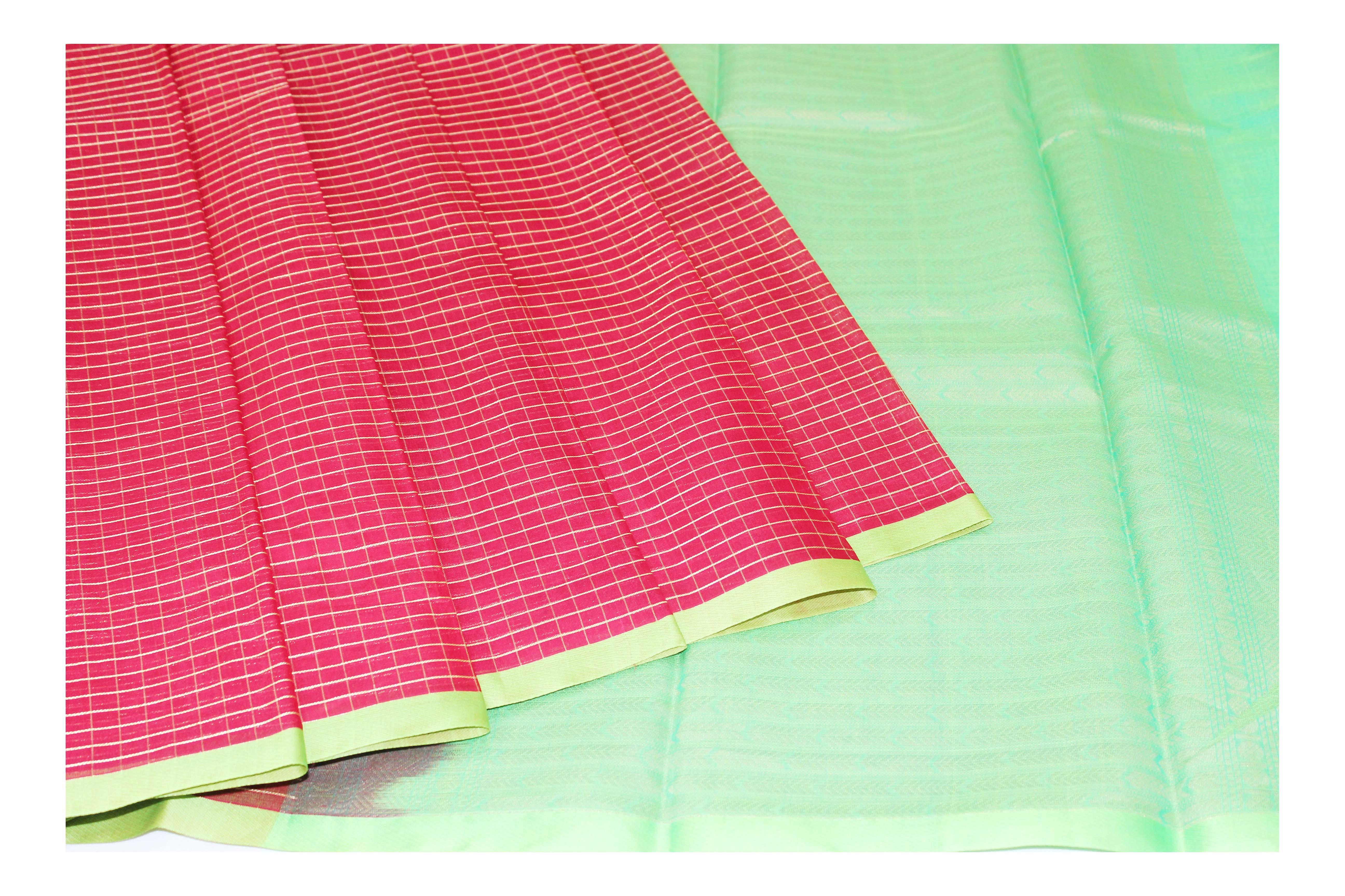 Red and green cotton blended with silver jari