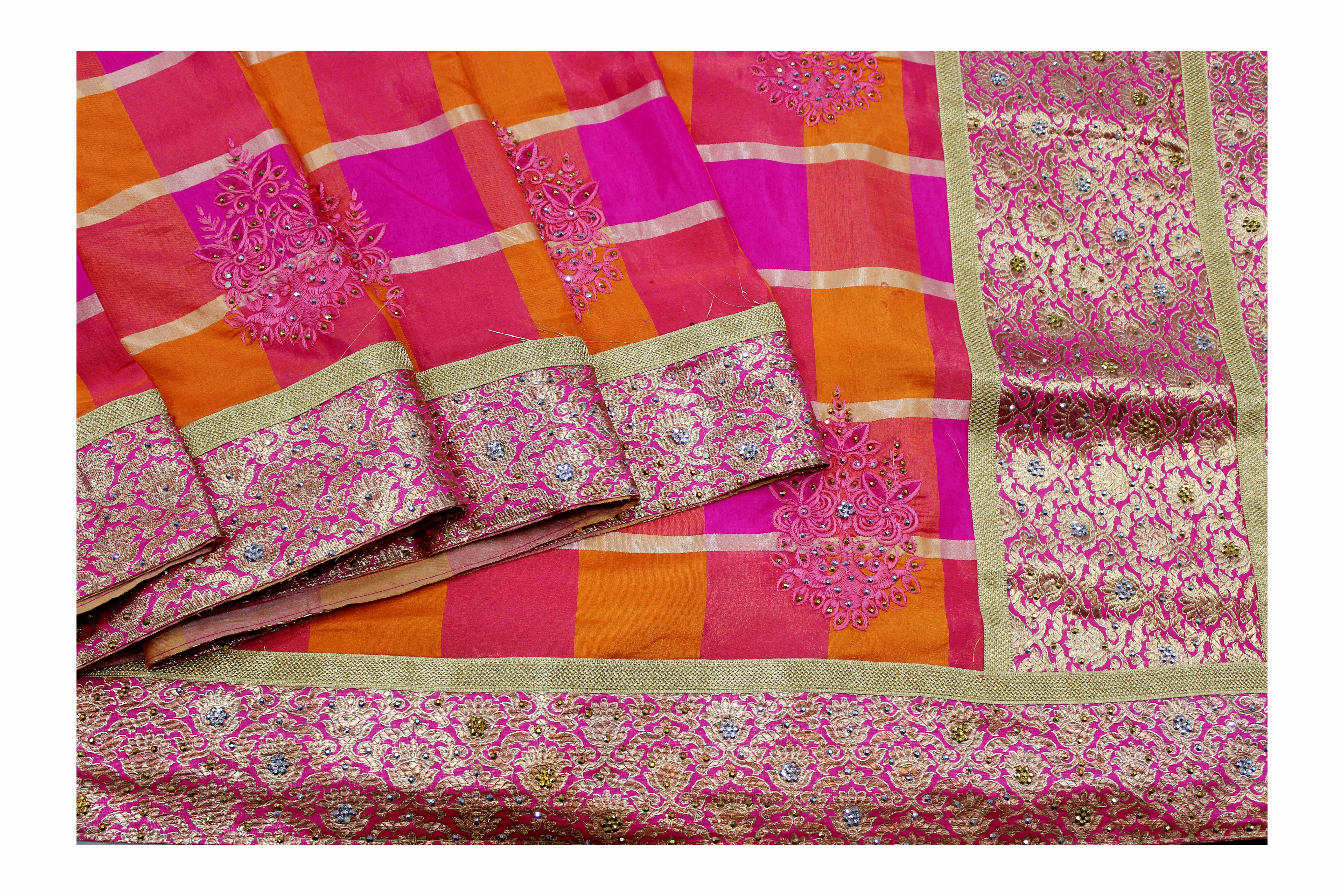 Mixture of orange and pink fancy silk