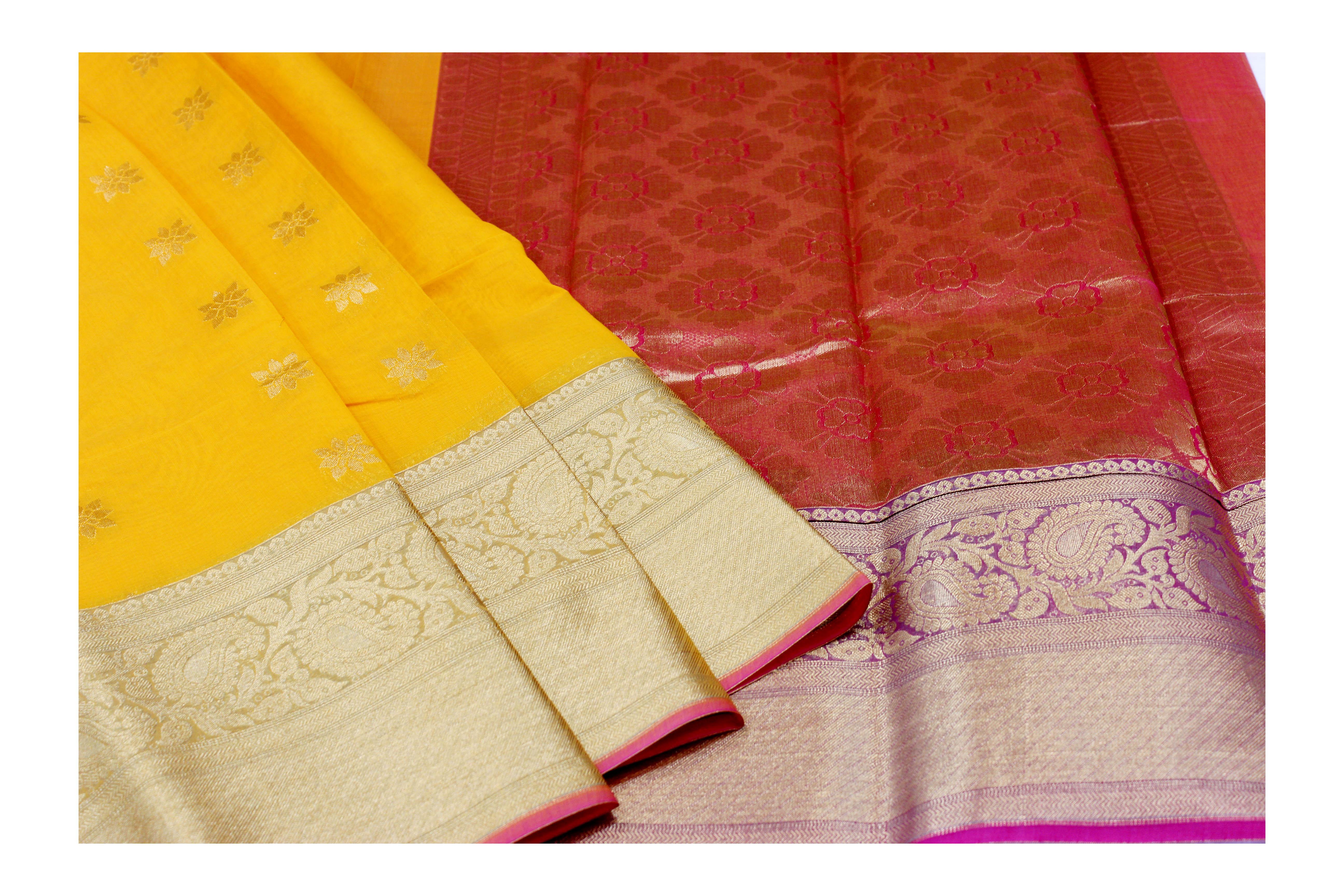 Mixture of yellow and maroon kanchi cotton saree.