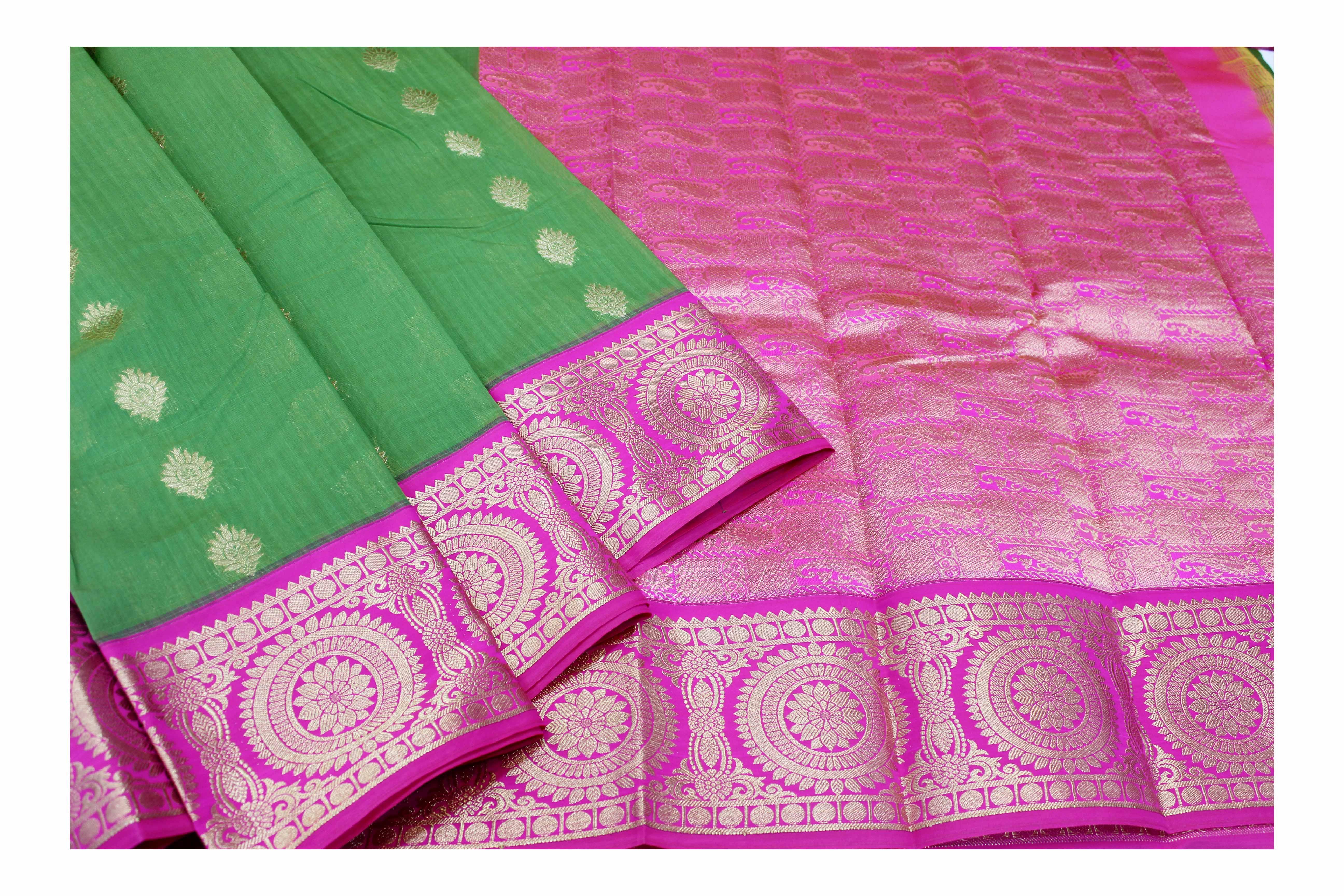 Mixture of green and pink kanchi cotton saree.
