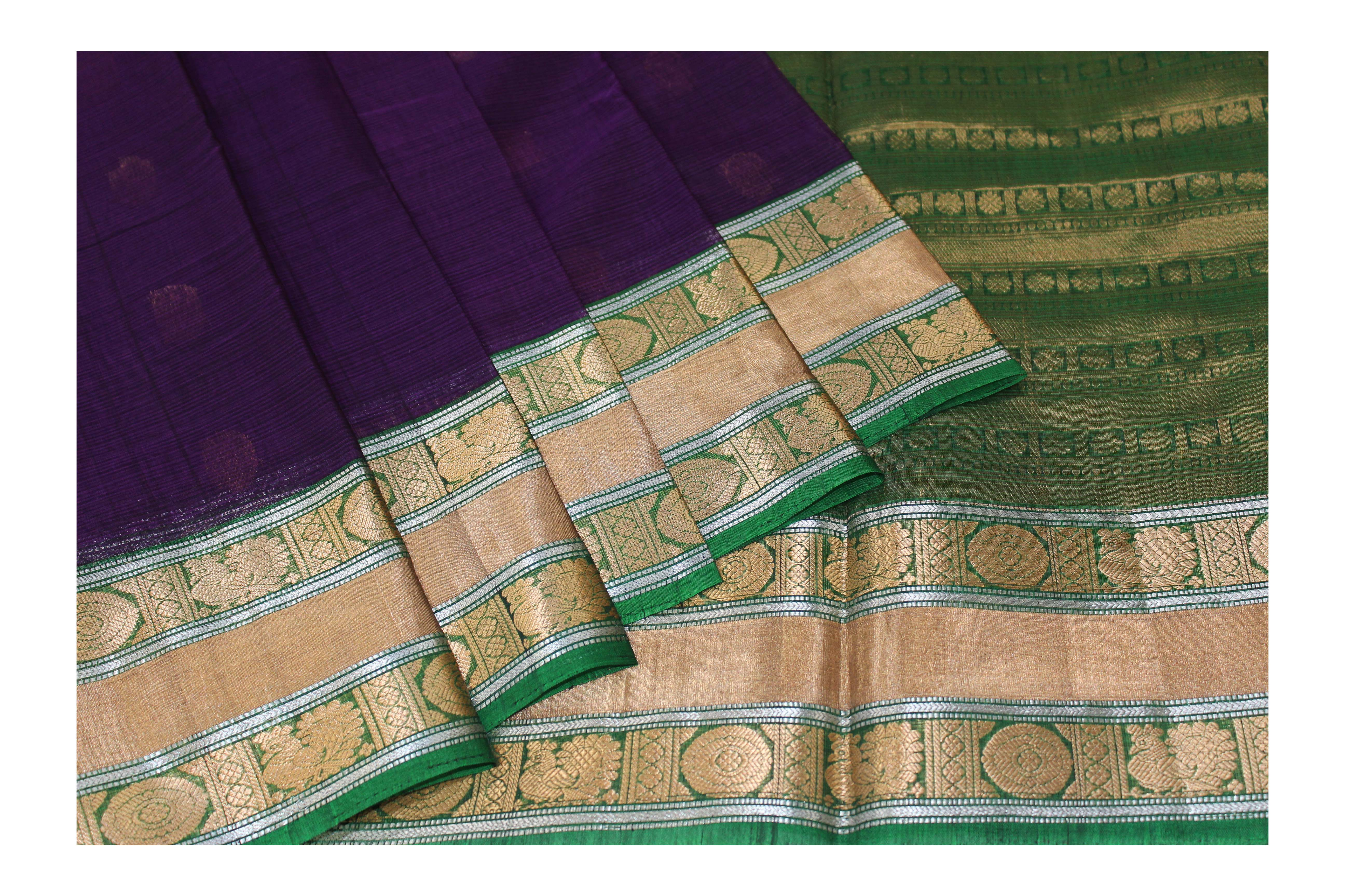 Purple and green cotton blended with golden jari