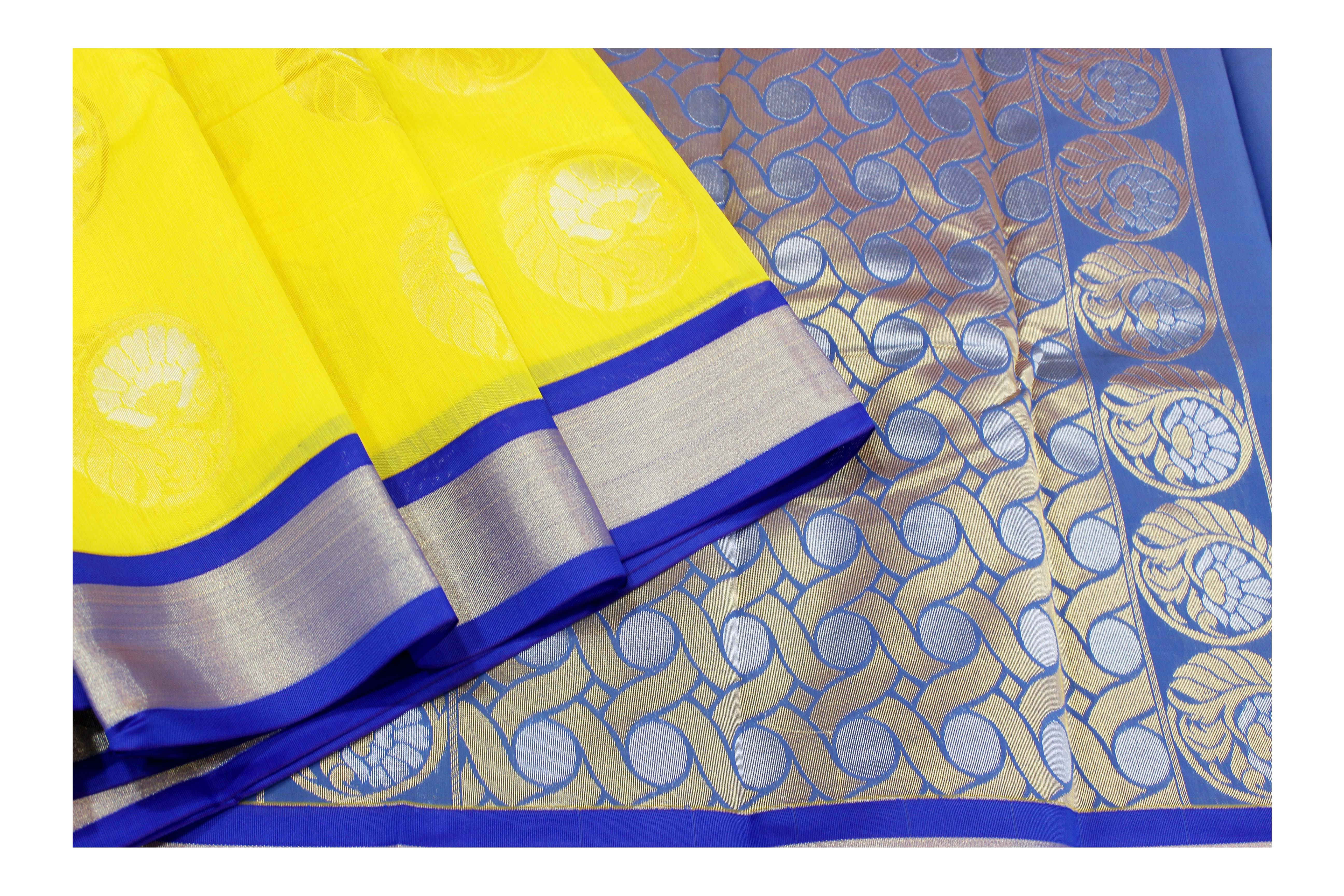 Mixture of yellow and blue kanchi cotton saree.