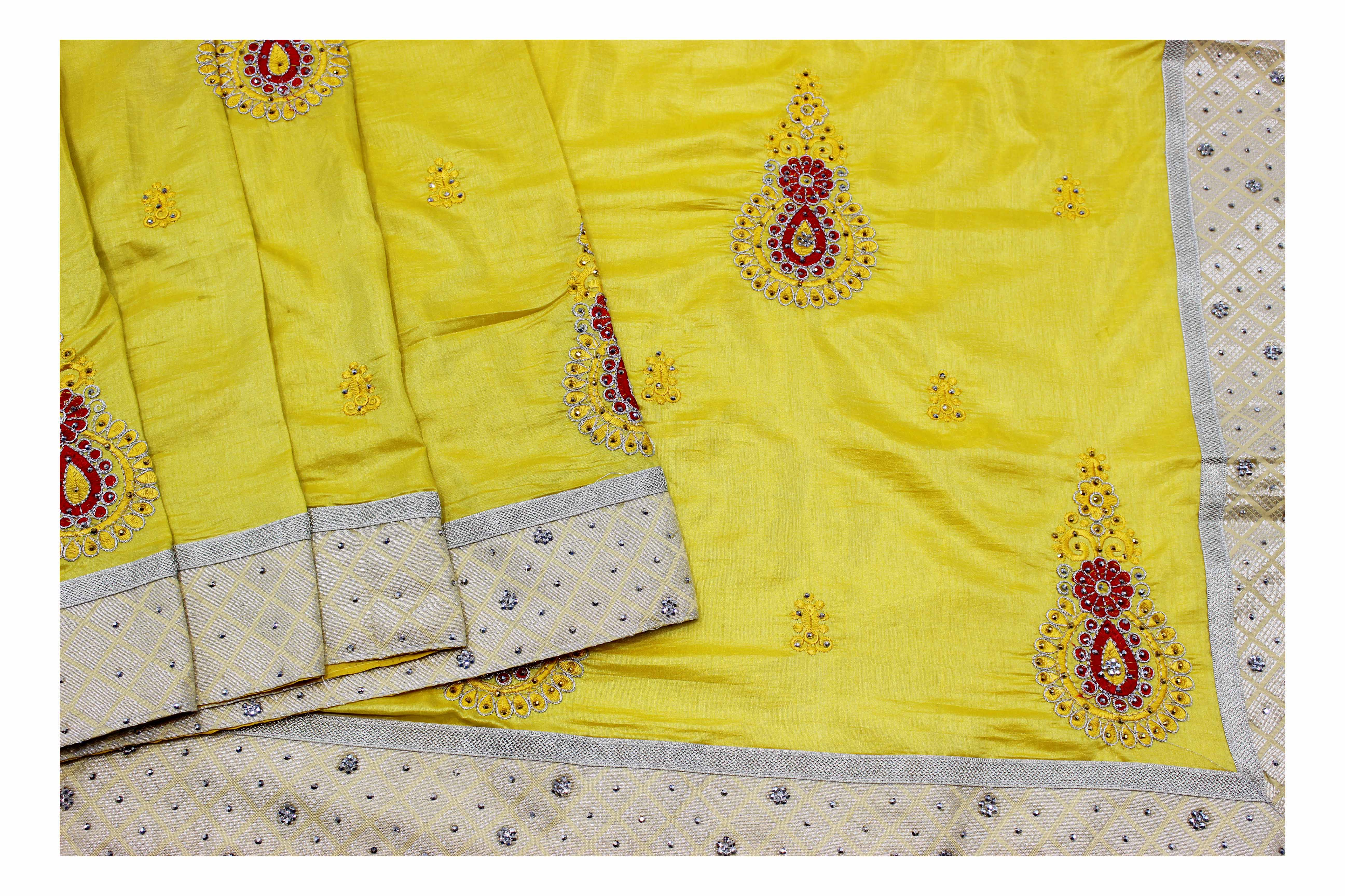 Mixture of yellow and gold fancy silk with embroidery work.