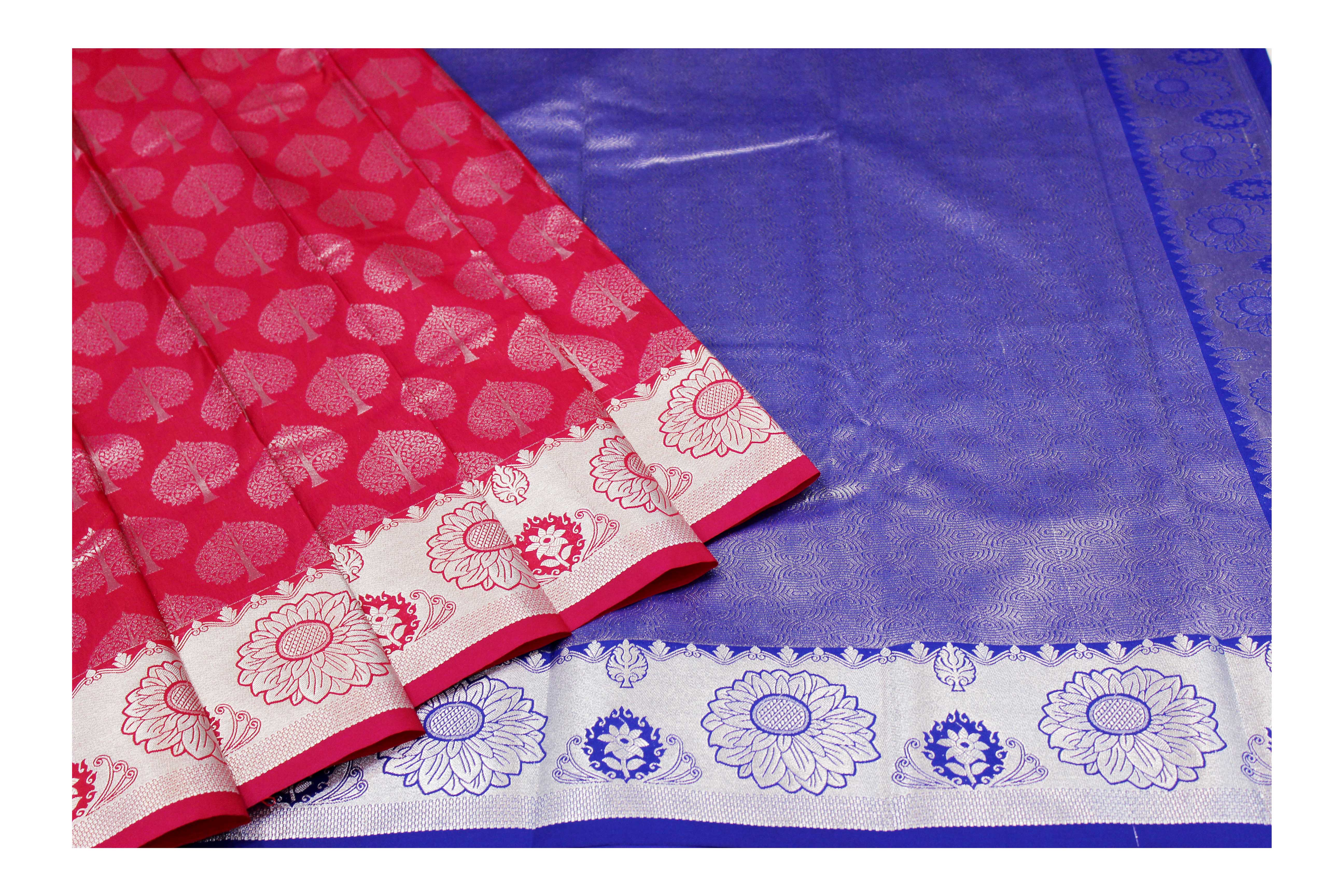 mixture of red and blue raw silk with silver jari